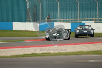 "© Octane Photographic Ltd. 2012 Donington Historic Festival. ""1000km"" for pre-72 sports-racing cars, qualifying. Lola T70 Mk.3B - Jason Wright/Michael Gans. Digital Ref : 0319cb1d8645"