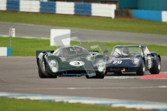 "© Octane Photographic Ltd. 2012 Donington Historic Festival. ""1000km"" for pre-72 sports-racing cars, qualifying. Lola T70 Mk.3B - Jason Wright/Michael Gans. Digital Ref : 0319cb1d8650"