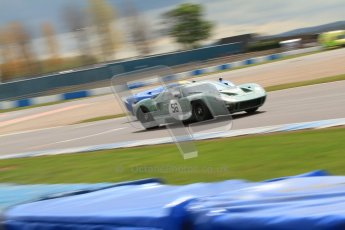 "© Octane Photographic Ltd. 2012 Donington Historic Festival. ""1000km"" for pre-72 sports-racing cars, qualifying. Ford GT40 - Andy Wolfe and Lola T70 - David Coplow/Martin Stretton. Digital Ref : 0319cb7d0171"