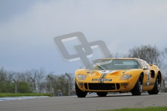 "© Octane Photographic Ltd. 2012 Donington Historic Festival. ""1000km"" for pre-72 sports-racing cars, qualifying. Ford GT40 - Conrad Ulrich/Willie Green. Digital Ref : 0319lw7d9168"