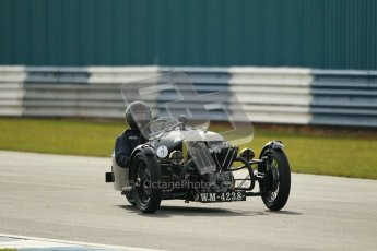 "© Octane Photographic Ltd. 2012 Donington Historic Festival. ""Mad Jack"" for pre-war sportscars, qualifying. Morgan Super Aero - Sue Darbyshire/Gary Caroline. Digital Ref : 0314cb1d7419"