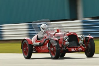 "© Octane Photographic Ltd. 2012 Donington Historic Festival. ""Mad Jack"" for pre-war sportscars, qualifying. Aston Martin Speed - Richard Lake/Paul Alcock. Digital Ref : 0314cb1d7499"