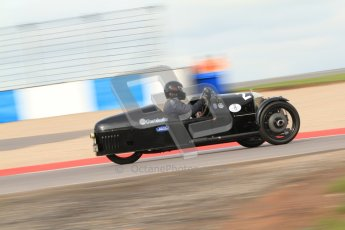 "© Octane Photographic Ltd. 2012 Donington Historic Festival. ""Mad Jack"" for pre-war sportscars, qualifying. Morgan Super Aero - Sue Darbyshire/Gary Caroline. Digital Ref : 0314cb7d9608"