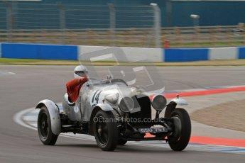 """© Octane Photographic Ltd. 2012 Donington Historic Festival. """"Mad Jack"""" for pre-war sportscars, qualifying. Clive Morley/Stuart Morely - Bentley. Digital Ref : 0314lw7d7179"""