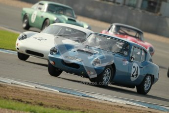 © Octane Photographic Ltd. 2012 Donington Historic Festival. Pre-63 GT, qualifying. Elva Courier - Marton Greaves, Steve Smith and Porsche Carrera Abarth - Bill Wykeham, Neil Tolich. Digital Ref : 0322cb1d9284