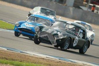 © Octane Photographic Ltd. 2012 Donington Historic Festival. Pre-63 GT, qualifying. AC Ace - Mark Knopfler, Alain de Cadenet. Digital Ref : 0322cb1d9295