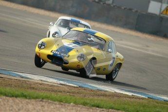 © Octane Photographic Ltd. 2012 Donington Historic Festival. Pre-63 GT, qualifying. Lotus Elite - Barry Davison, Patrick Sherrington. Digital Ref : 0322cb1d9365