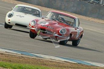 © Octane Photographic Ltd. 2012 Donington Historic Festival. Pre-63 GT, qualifying. Jaguar E-type - Chris Phillips and Porsche Carrera Abarth - Bill Wykeham, Neil Tolich. Digital Ref : 0322cb1d9403