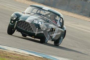 © Octane Photographic Ltd. 2012 Donington Historic Festival. Pre-63 GT, qualifying. AC Ace - Mark Knopfler, Alain de Cadenet. Digital Ref : 0322cb1d9407