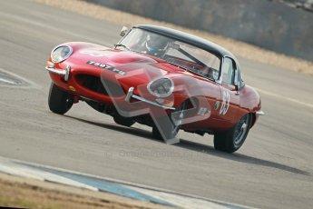 © Octane Photographic Ltd. 2012 Donington Historic Festival. Pre-63 GT, qualifying. Jaguar E-type - Jon Minshaw, Guy Minshaw. Digital Ref : 0322cb1d9444
