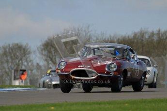 © Octane Photographic Ltd. 2012 Donington Historic Festival. Pre-63 GT, qualifying. Jaguar E-type - James Cottingham, Jeremy Cottingham. Digital Ref : 0322lw7d0249