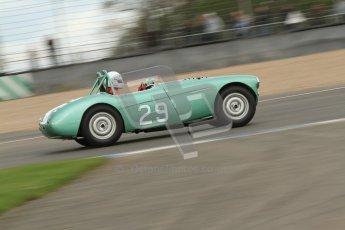 © Octane Photographic Ltd. 2012 Donington Historic Festival. RAC Woodcote Trophy for pre-56 sportscars, qualifying. Austin-Healey. Digital Ref : 0316cb7d9928