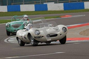 © Octane Photographic Ltd. 2012 Donington Historic Festival. RAC Woodcote Trophy for pre-56 sportscars, qualifying. Jaguar D-type - Carlos Monteverde/Gary Pearson. Digital Ref : 0316lw7d8318