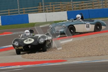 © Octane Photographic Ltd. 2012 Donington Historic Festival. RAC Woodcote Trophy for pre-56 sportscars, qualifying. Jaguar D-type - Nick Adams/Robin Ward. Digital Ref : 0316lw7d8506