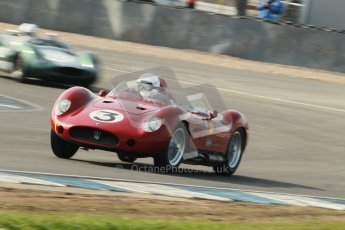 © Octane Photographic Ltd. 2012 Donington Historic Festival. Stirling Moss Trophy for pre-61 sportscars, qualifying. Maserati 250S - Stephen Bond/Keith Fell. Digital Ref : 0321cb1d8986