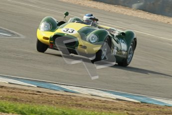 © Octane Photographic Ltd. 2012 Donington Historic Festival. Stirling Moss Trophy for pre-61 sportscars, qualifying. Lister Knobley - Jon Minshaw. Digital Ref : 0321cb1d9008