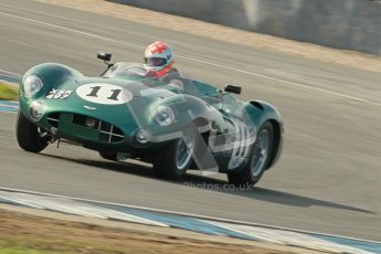 © Octane Photographic Ltd. 2012 Donington Historic Festival. Stirling Moss Trophy for pre-61 sportscars, qualifying. Aston Martin DBR1 - Bobby Verdon-Roe. Digital Ref : 0321cb1d9024