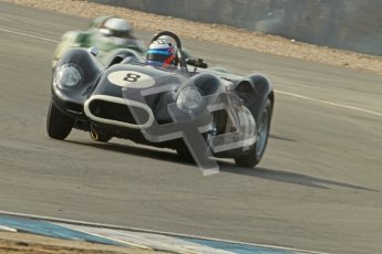 © Octane Photographic Ltd. 2012 Donington Historic Festival. Stirling Moss Trophy for pre-61 sportscars, qualifying. Lister Knobbly - Tony Wood, Barry Cannell. Digital Ref : 0321cb1d9106