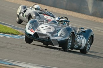 © Octane Photographic Ltd. 2012 Donington Historic Festival. Stirling Moss Trophy for pre-61 sportscars, qualifying. Lister Jaguar Knobbly - Derek Hood, John Young. Digital Ref : 0321cb1d9150