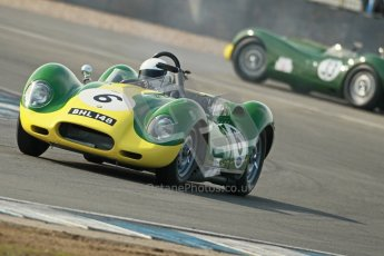 © Octane Photographic Ltd. 2012 Donington Historic Festival. Stirling Moss Trophy for pre-61 sportscars, qualifying. Lister Chrevrolet - Mark Gibbon/James Gibbon. Digital Ref : 0321cb1d9188