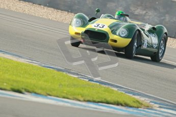 © Octane Photographic Ltd. 2012 Donington Historic Festival. Stirling Moss Trophy for pre-61 sportscars, qualifying. Lister Knobley - Martin Stretton. Digital Ref : 0321cb1d9191
