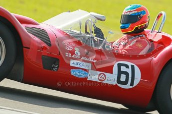 © Octane Photographic Ltd. 2012 Donington Historic Festival. Stirling Moss Trophy for pre-61 sportscars, qualifying. Maserati T61 Birdcage - Jason Minshaw. Digital Ref : 0321cb1d9229