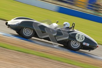 © Octane Photographic Ltd. 2012 Donington Historic Festival. Stirling Moss Trophy for pre-61 sportscars, qualifying. Lister Jaguar Costin - Darren McWhirter. Digital Ref : 0321cb7d0339