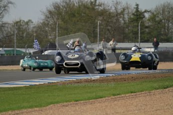 © Octane Photographic Ltd. 2012 Donington Historic Festival. Stirling Moss Trophy for pre-61 sportscars, qualifying. Lister Knobbly - Tony Wood, Barry Cannell. Digital Ref : 0321lw7d0003