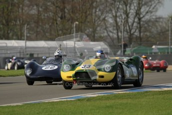 © Octane Photographic Ltd. 2012 Donington Historic Festival. Stirling Moss Trophy for pre-61 sportscars, qualifying. Lister Knobley - Jon Minshaw. Digital Ref : 0321lw7d9756