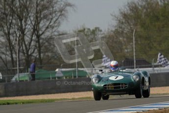 © Octane Photographic Ltd. 2012 Donington Historic Festival. Stirling Moss Trophy for pre-61 sportscars, qualifying. Aston-Martin DBR1 - Wolfgang Friedrichs,David Clark. Digital Ref : 0321lw7d9793