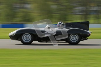 © Octane Photographic Ltd. 2012 Donington Historic Festival. Stirling Moss Trophy for pre-61 sportscars, qualifying. Jaguar D-type, Benjamin Eastick. Digital Ref : 0321lw7d9811