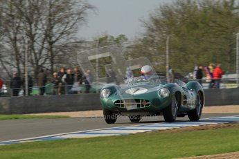 © Octane Photographic Ltd. 2012 Donington Historic Festival. Stirling Moss Trophy for pre-61 sportscars, qualifying. Aston-Martin DBR1 - Wolfgang Friedrichs,David Clark. Digital Ref : 0321lw7d9836