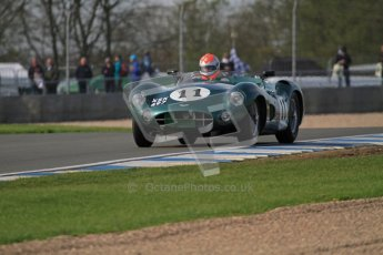 © Octane Photographic Ltd. 2012 Donington Historic Festival. Stirling Moss Trophy for pre-61 sportscars, qualifying. Aston Martin DBR1 - Bobby Verdon-Roe. Digital Ref : 0321lw7d9965