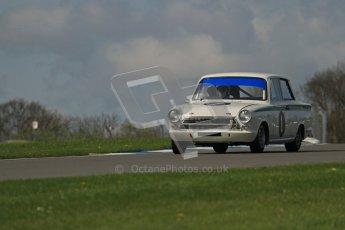 © Octane Photographic Ltd. 2012 Donington Historic Festival. U2TC. Ford Lotus Cortina - Leo Voyazides, Simon Hadfield. Digital Ref : 0323lw7d0413