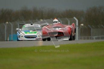 © Octane Photographic Ltd. Donington Park - General Test - 19th April 2012. Ex-Adrian Hall Lotus 10 and Ben Gower/Ben Pitch, Lotus Elise, Britcar MSA British Endurance Championship. Digital ref : 0297lw1d9639