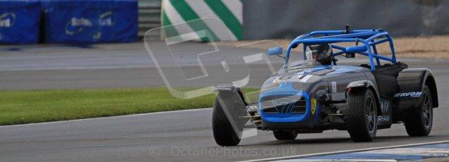 © Octane Photographic Ltd. Donington Park un-silenced general test day, 26th April 2012. Paul Lewis - Caterham 7. Digital Ref : 0301lw7d8143