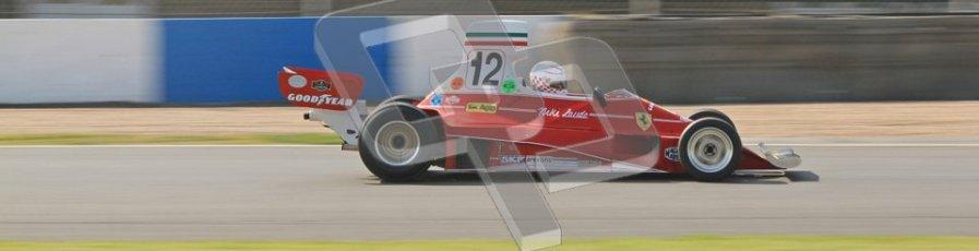 © Octane Photographic Ltd. Donington Park un-silenced general testing. Thursday 29th March 2012. Ex-Niki Lauda Ferrari 312T, Historic F1. Digital Ref : 0261cb7d5143