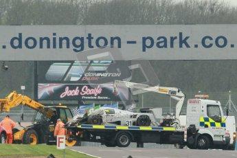 © Octane Photographic Ltd. Donington Park testing, May 3rd 2012. Aftermath of Bob Berridge's accident in the Ex-Michael Schumacher/Mauro Baldi Sauber C11. Digital Ref : 0313cb1d6968