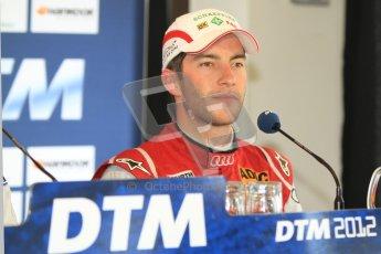 © Octane Photographic Ltd. 2012. DTM – Brands Hatch - Post-race press conference. Mike Rockenfeller - Audi A5 DTM - Audi Sport Team Phoenix. Sunday 20th May 2012. Digital Ref : 0346cb7d7270
