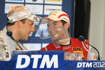 © Octane Photographic Ltd. 2012. DTM – Brands Hatch - Post-race press conference. Sunday 20th May 2012.  Gary Paffett - AMG C-Coupe - Thomas Sabo Mercedes AMG and Mike Rockenfeller - Audi A5 DTM - Audi Sport Team Phoenix. Digital Ref : 0346cb7d7311