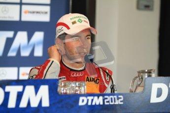 © Octane Photographic Ltd. 2012. DTM – Brands Hatch - Post-race press conference. Sunday 20th May 2012. Mike Rockenfeller - Audi A5 DTM - Audi Sport Team Phoenix. Digital Ref : 0346cb7d7332