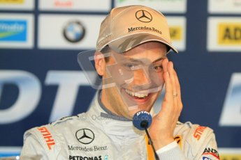 © Octane Photographic Ltd. 2012. DTM – Brands Hatch  - Saturday Press Conference. Gary Paffett - Mercedes AMG C-Coupe - Thomas Sabo Mercedes AMG. Digital Ref :