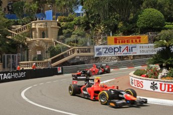 © Octane Photographic Ltd. 2012. F1 Monte Carlo - GP2 Practice 1. Thursday  24th May 2012. Rio Haryanto and Max Chilton - Carlin. Digital Ref : 0353cb7d7942