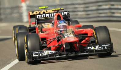 © Octane Photographic Ltd. 2012. F1 Monte Carlo - Practice 1. Thursday  24th May 2012. Charles Pic - Marussia and Romain Grosjean - Lotus. Digital Ref : 0350cb1d0111