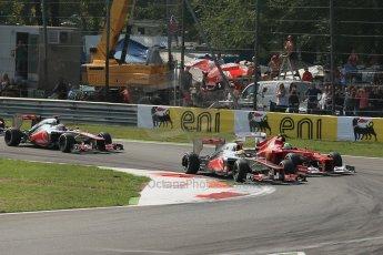 World © Octane Photographic Ltd. Formula 1 Italian GP, 9th September 2012. Vodafone McLaren Mercedes MP4/27 - Lewis Hamilton and Jenson Button and Ferrari F2012 - Felipe Massa. Digital Ref : 0518lw1d9072