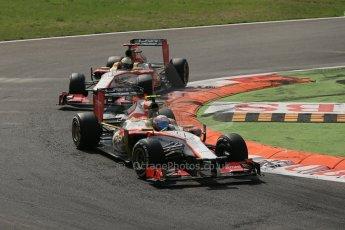 World © Octane Photographic Ltd. Formula 1 Italian GP, 9th September 2012. HRT F112s in formation; Narain Karthikeyan leading Pedro de la Rosa. Digital Ref : 0518lw1d9310