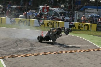 World © Octane Photographic Ltd. Formula 1 Italian GP, 9th September 2012. Jean-Eric Vergne launches off the curb after a suspension failure - grabbing big air in his Toro Rosso STR7. Digital Ref : 0518lw1d9525