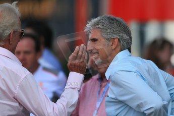 World © Octane Photographic Ltd. Formula 1 Italian GP, F1 Paddock. 9th September 2012. Damon Hill and John Button. Digital Ref : 0517lw1d8870