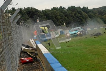 © Chris Enion/Octane Photographic Ltd 2012. FIA GT1 Championship, Donington Park, Sunday 30th September 2012. Nikolas Mayr-Melnhof crashes out at Hollywood on lap one in his Vita4One Racing Team BMW E89 Z4GT3. Digital Ref : 0534ce1d0149