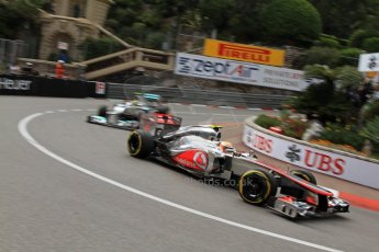 © Octane Photographic Ltd. 2012. F1 Monte Carlo - Practice 2. Thursday 24th May 2012. Lewis Hamilton - McLaren and Nico Rosberg - Mercedes. Digital Ref : 0352cb7d8074